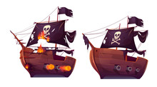 Sea Battle Of Retro Wooden Ships Vector Cartoon. Fight Of Pirate Galleon Or Attack Frigate, Sailboat. Corsairs With Black Flag, Broken Ship In Fire With Cannons Isolated On White Background