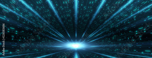 Obraz Abstract futuristic sci fi warp tunnel speed light. - fototapety do salonu