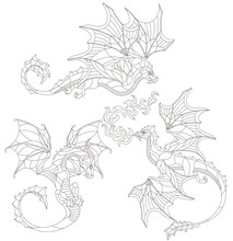 Set Of Stained Glass Elements With Contour Winged Dragons, Isolates On White Background