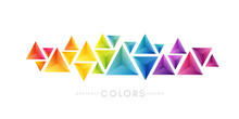 Rainbow Triangles Decoration. Colorful Abstraction Design Elements. Vector Horizontal Banner.