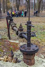 Oil Well In The Old Borislav City Park - The Oldest Oil Production Site In Europe.