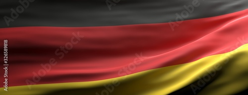 Valokuva Germany national flag waving texture background. 3d illustration
