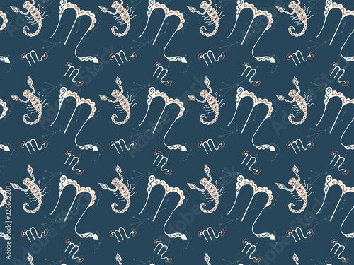 Vector two-layer seamless pattern of zodiac signs Scorpius on a dark background Canvas Print