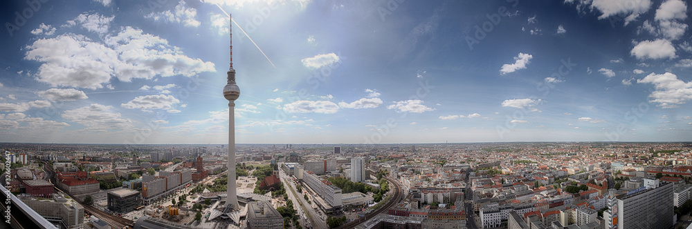 Fototapeta Panoramic view of Berlin city on a sunny day