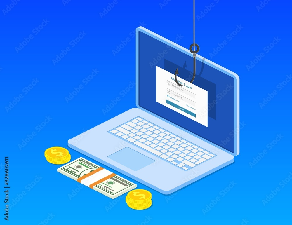 Fototapeta isometric Login into account and fishing hook. Internet phishing, hacked login and password.Computer internet security concept. Anti virus, spyware, malware. Vector illustration in flat style