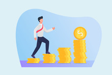 Road To Success Concept With Business Man Walking To Step Financial Money Growth
