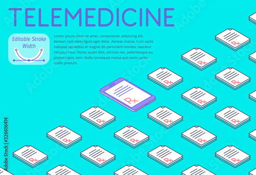 Medicine and telemedicine 3d isometric pattern Wallpaper Mural