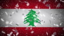 Lebanon Flag Falling Snow Loop...