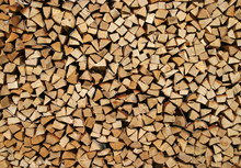 Birch Firewood Stacked In A Woodpile
