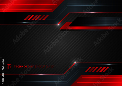Fototapeta Abstract technology geometric red and black color shiny motion background. obraz
