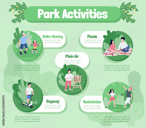 Park activities flat color vector informational infographic template Canvas-taulu