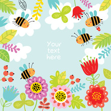 Floral Background With Cute Bees.