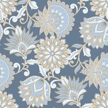 Floral Seamless Pattern. Vintage Background In Batik Style