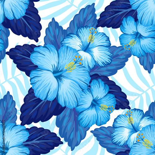 Tapeta niebieska  hawaiian-seamless-pattern