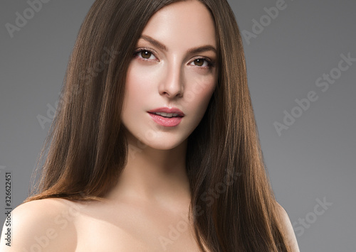Fototapety, obrazy: Beautiful female face healthy natural skin fashion make up brunette smooth hair woman spa cosmetic portrait