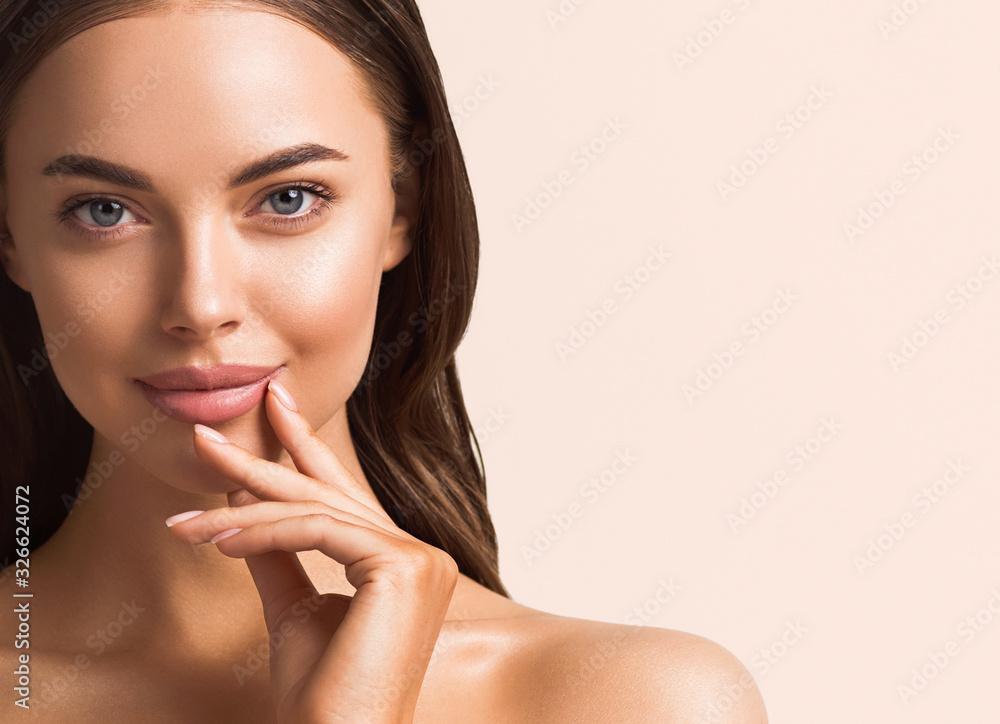Fototapeta Beautiful woman hand touching skin manicure nails tanned skin natural make up clen fresh body care