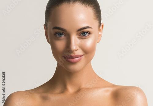Fototapeta Beautiful woman face close up beauty make up natural healthy clean skin  obraz