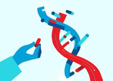 Una Mano Che Tiene Un Componente Dell'elica Del DNA - Illustrazione Vettoriale