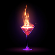 Cocktail With Fire Flame On Black Background