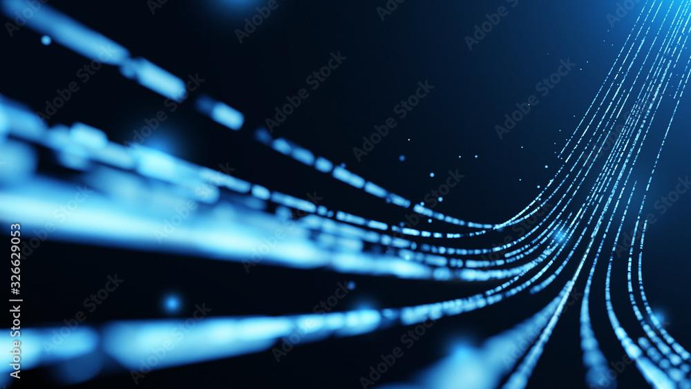 Fototapeta Virtual data transfer in network and internet