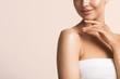 Beautiful hands woman natural beauty manicure chin shoulders