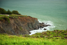 Horizontal View From Path To Point Bonita Lighthouse On Typical Overcast, Cloudy, Foggy Day At San Francisco Bay Entrance, California, USA. Scenic Stormy Landscape Of Pacific Ocean. Travel, Tourism