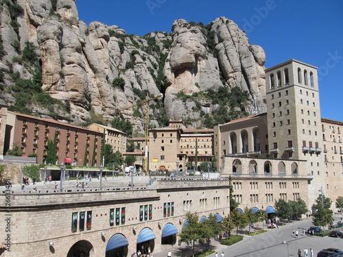 Photo Barcelona, Spain Montserrat Monastery, Santa Maria de Montserrat is a Benedictine abbey located on the mountain of Montserrat nearby from Barcelona