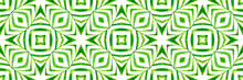 Ethnic Hand Painted Green Pattern. Repeating
