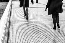 People Walking On Sidewalk, Bl...