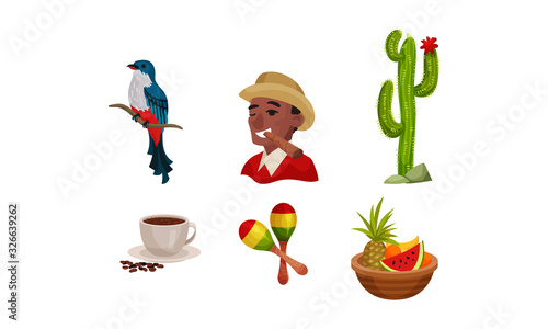 Photo Cuba Attributes and Stuff with Cactus Plant and Exotic Bird Vector Set