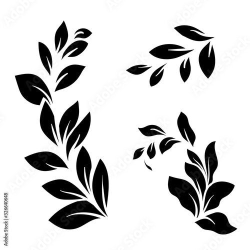 sprig of green leaves on a white background, vector illustration Fototapeta
