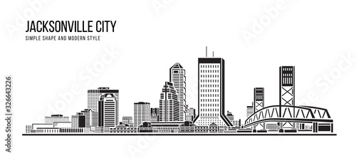 Cityscape Building Abstract Simple shape and modern style art Vector design - Jacksonville city