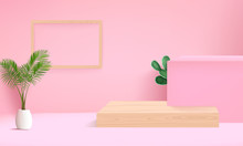 Background Vector 3d Pink Rendering With Podium And Minimal Pink Wall Scene, Minimal Abstract Background 3d Rendering Abstract Geometric Shape Pink Pastel Color.