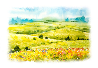 Fototapeta Malarstwo Watercolor hand drawn botanical illustration. Summer landscape. Watercolor Summer nature. Green fields and grass. Natural panorama with green sunny fields