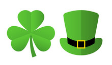 St Patrick's Day Symbols, Clover And Leprechaun Hat