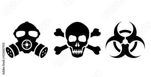 Fototapeta Toxic danger symbols set, vector illustrations