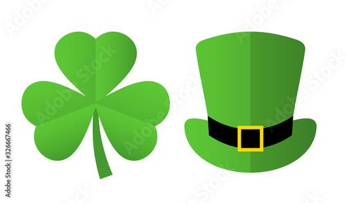 Obraz St Patrick's day symbols, clover and leprechaun hat - fototapety do salonu