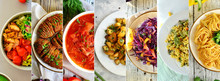 Vegetarian Food. Collage Of Fo...
