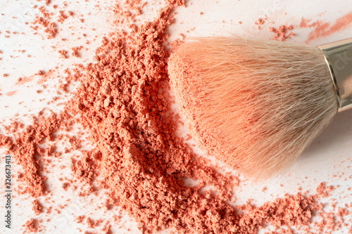 Face blusher powder and make-up brush on white background close-up, top view Wallpaper Mural