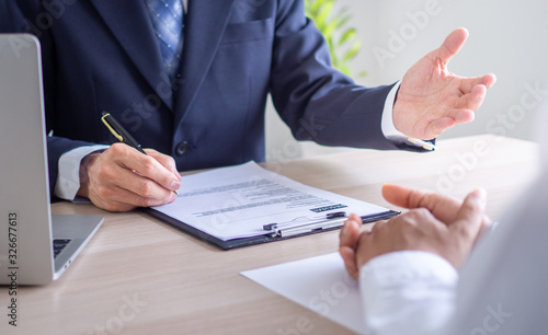 Executives are interviewing job applicants and conducting background checks Canvas Print