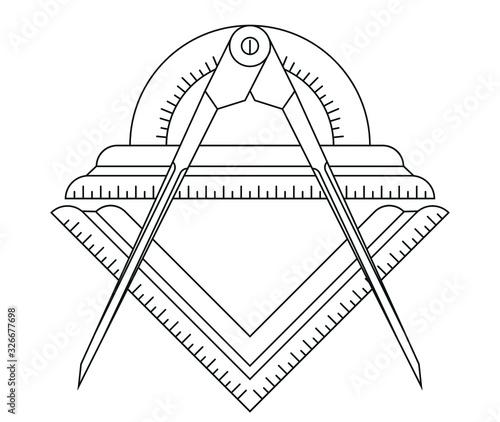 Simple masonic square, compass. Geometry Symbols. Canvas Print