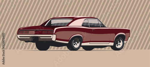 Muscle car in vintage colors. Vector illustration.
