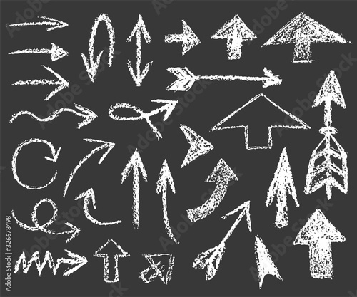 Foto set of white chalk arrows of different shapes