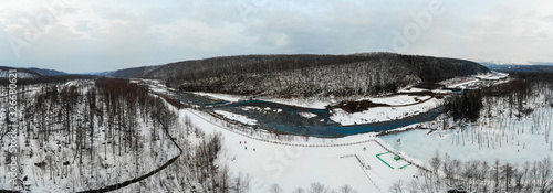 Photo Aerial view at Biel/Bienne where the reservoir source of the blue water for the