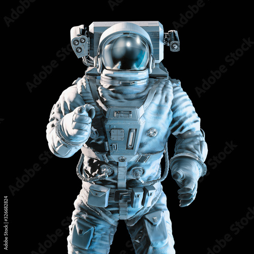 Pointing at you astronaut / 3D illustration of dramatically lit astronaut pointi Wallpaper Mural