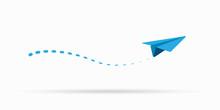 Paper Air Plane Flying Vector Illustration