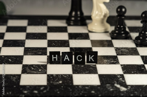 The concept of Hack represented by black and white letter tiles on a marble ches Canvas Print