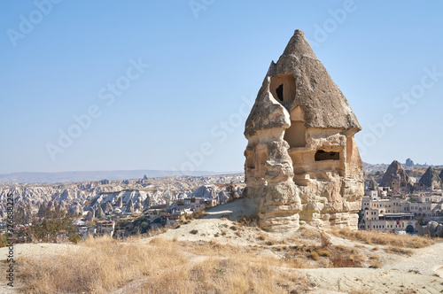 Obraz na plátne Landscape with an ancient cave house in a rock, Cappadocia, Turkey,
