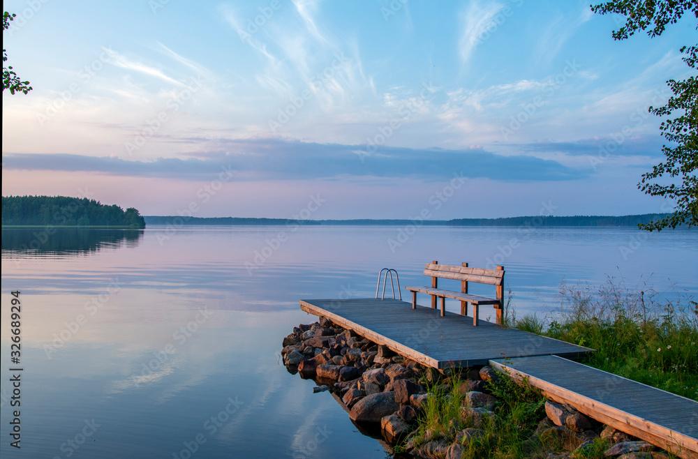 Fototapeta Lakeside landscape in summer