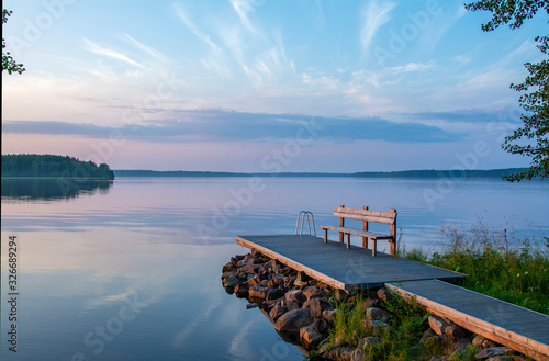 Lakeside landscape in summer Fotobehang